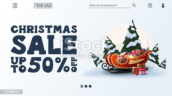 istock Christmas sale, up to 50% off, white discount web banner with large offer, navigation of website and Santa Sleigh with presents 1279802611