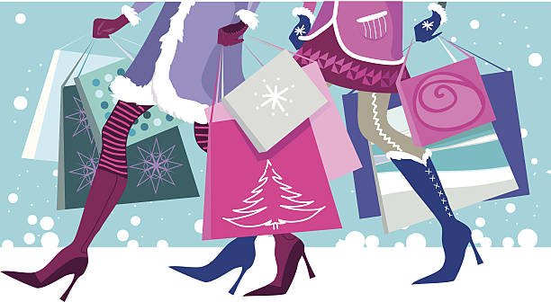christmas sale - winter fashion stock illustrations, clip art, cartoons, & icons