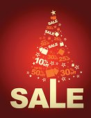 Vector of Christmas Sale on red background. EPS Ai 10.