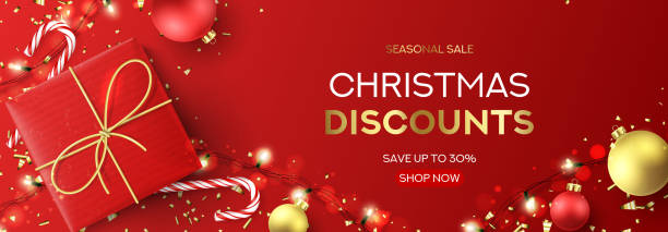 christmas sale web banner template - christmas background stock illustrations