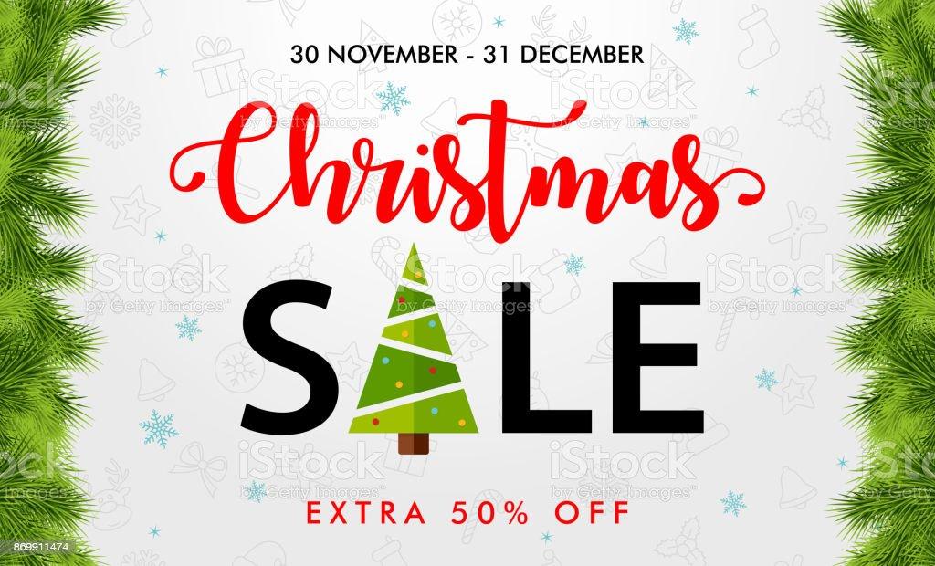 Weihnachtsverkauf Weißem Hintergrund Vorlage Banner Stock Vektor Art ...