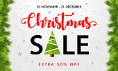 Christmas Sale - Red Background Template Banner