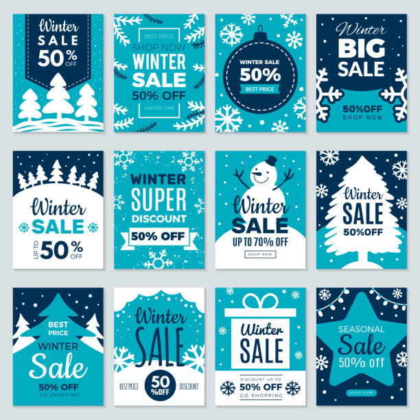 Christmas sale. Winter promotional labels cards advertising special offers season sales and perfect offers vector cards collection Christmas sale. Winter promotional labels cards advertising special offers season sales and perfect offers vector cards collection. Christmas promotion discount poster, best price sale illustration holidays and seasonal stock illustrations
