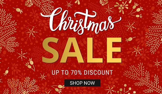 Christmas sales banner template with hand drawn lettering, gold fir tree branches and snowflake decorations on the red background. EPS 10 vector