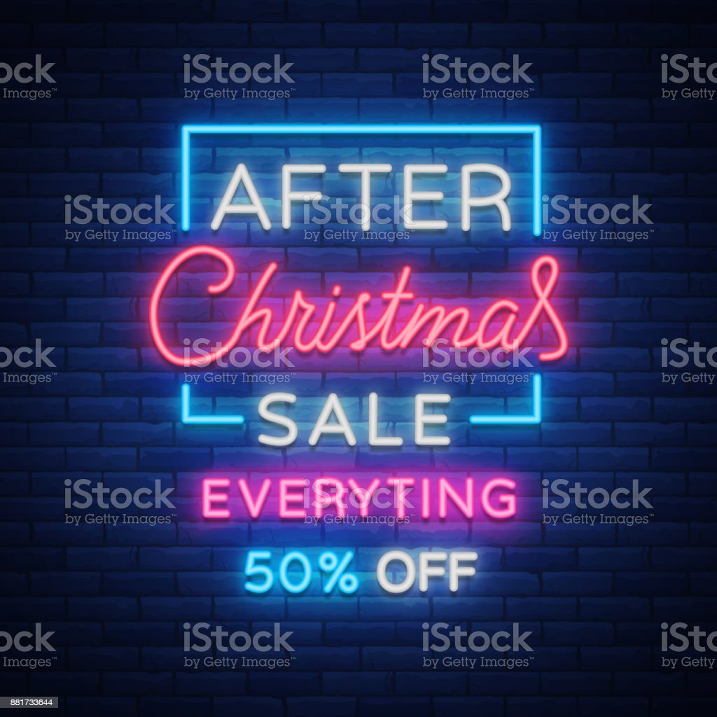 christmas sales neon sign advertising bright festive discounts new