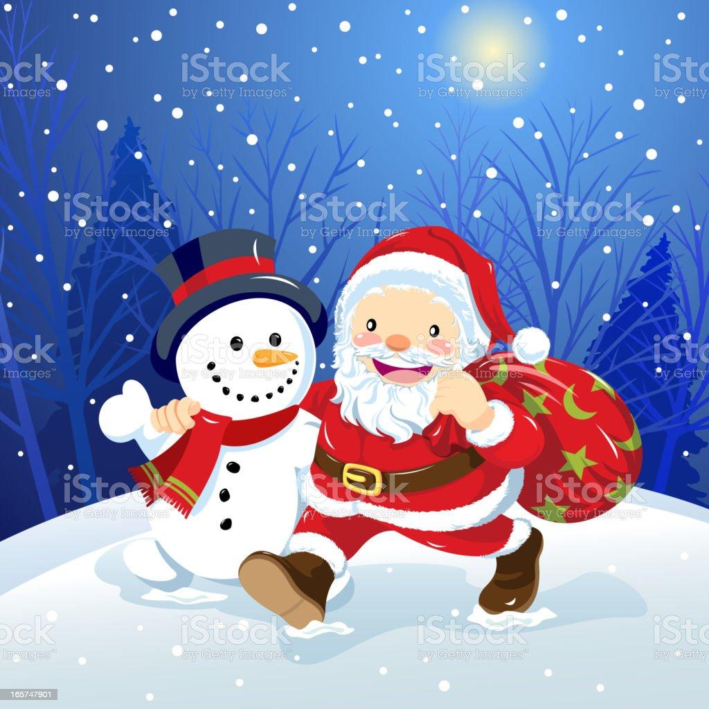 christmas santa and snowman royalty free christmas santa and snowman stock vector art - Santa And Snowman