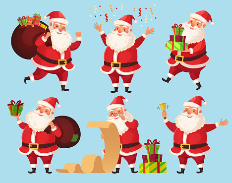 Christmas Santa cartoon character. Funny Santa Claus with Xmas presents, winter holiday characters vector illustration set