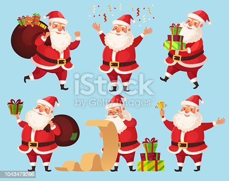 Christmas Santa cartoon character. Funny Santa Claus with Xmas presents, winter holiday beard characters. Grandfather with gifts, noel 2019 new year vector isolated icons illustration set