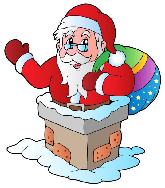weihnachten weihnachtsmann 5 - kaminverkleidungen stock-grafiken, -clipart, -cartoons und -symbole