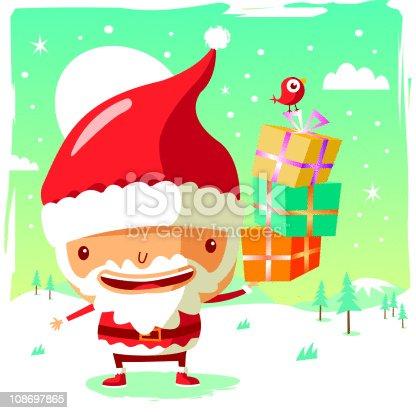 istock Christmas - Santa Claus and his gifts 108697865