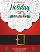 Christmas Santa Claus Beard and Belly Holiday Party Invitation. There are snowflakes in the beard and a black belt with gold buckle. Text is over the beard.