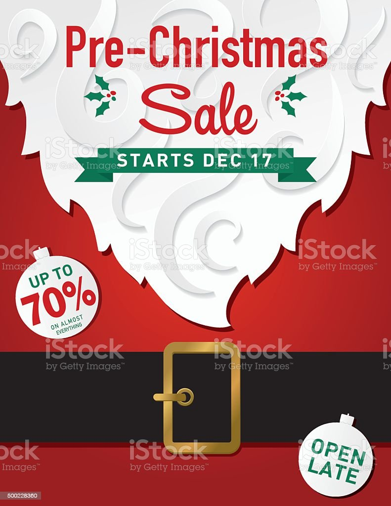 Christmas Santa Claus Beard and Belly Sale Ad vector art illustration