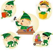 Christmas Santa Claus Elf Elves in Action set