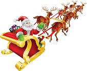 Christmas illustration of Cartoon Santa Claus flying in his sled or sleigh and waving. Vector file is eps 10 and uses transparency blends and gradient mesh