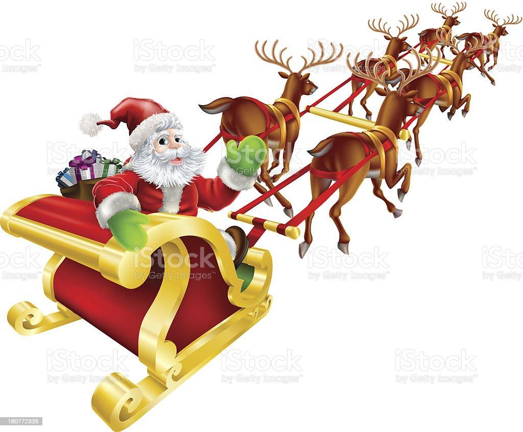 Christmas Santa Claus flying in sleigh vector art illustration