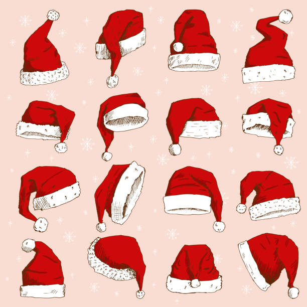 stockillustraties, clipart, cartoons en iconen met kerstmis de kerstman hoed vector noel geïsoleerd illustratie nieuwjaar christenen xmas partij decoratie hoed ontwerpelement - kerstmanhoed