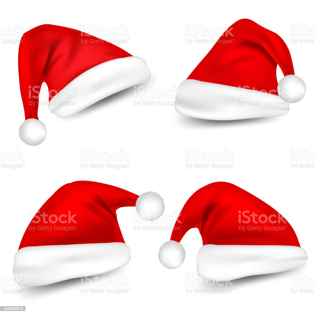 25db57d86dea3 Christmas Santa Claus Hats With Shadow Set. New Year Red Hat Isolated on White  Background. Vector illustration - Illustration .