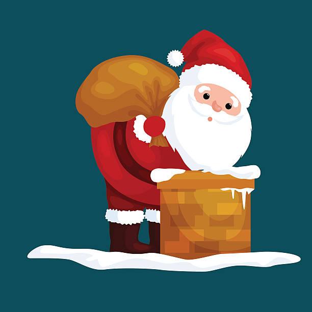 christmas santa claus in red suit with bag full of - kaminverkleidungen stock-grafiken, -clipart, -cartoons und -symbole