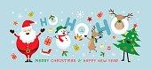 Snowman, Reindeer, Pine Tree. Happy New Year
