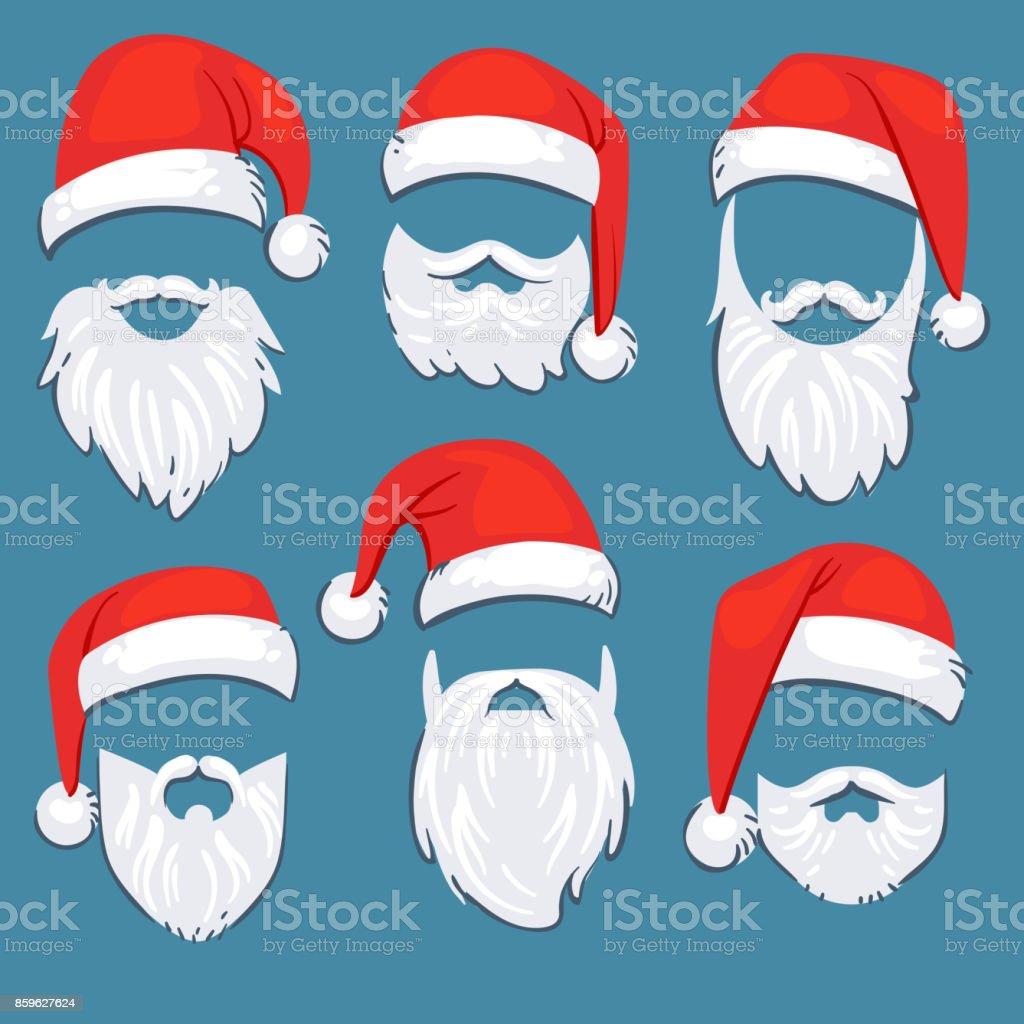 Conjunto de vetores de chapéus de Natal Papai Noel vermelho com branco bigode e barba - ilustração de arte em vetor