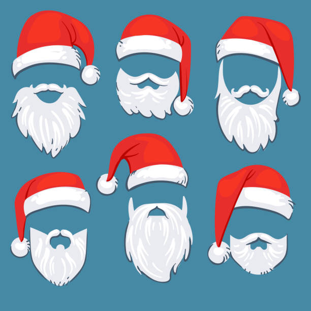 stockillustraties, clipart, cartoons en iconen met christmas santa claus rode hoeden met witte snor en baard vector set - kerstmanhoed