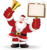 Christmas: Santa Claus Shaking Jingle Bell and holding blank sign