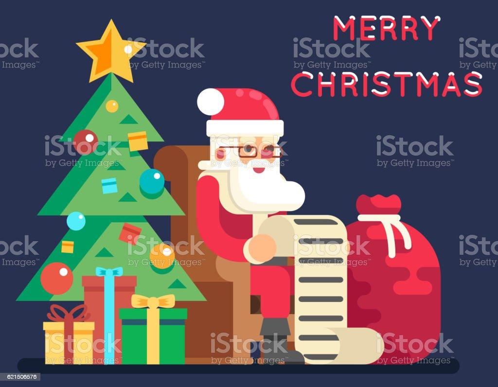 Christmas Santa Claus Tree Bell Gifts List New Year Icon christmas santa claus tree bell gifts list new year icon - immagini vettoriali stock e altre immagini di albero royalty-free