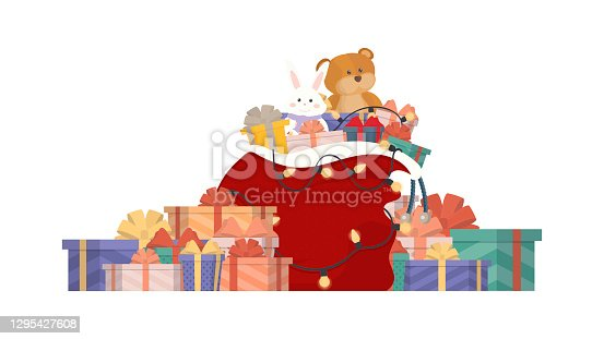 istock Christmas Santa gift bag full of gift boxes and gift bags. Big pile of colorful wrapped gift boxes. Vector. 1295427608