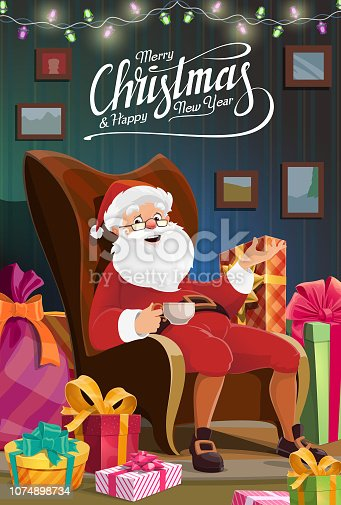 Merry Christmas, Santa on winter holidays sitting in chair at house and drink tea. Vector Christmas and Happy New Year wish, Xmas tree lights, gifts with ribbons and bows in Santa bag