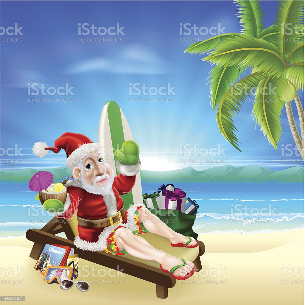 Christmas Santa Tropical Beach Scene royalty-free christmas santa tropical beach scene stock vector art & more images of adult