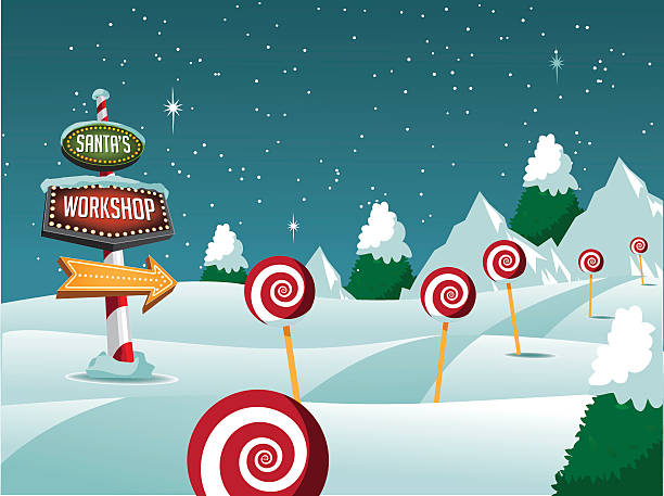 Christmas Santa's Workshop sign snowy scene. Christmas Santa's Workshop sign snowy scene. EPS 10 vector north pole stock illustrations