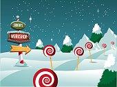 Christmas Santa's Workshop sign snowy scene.