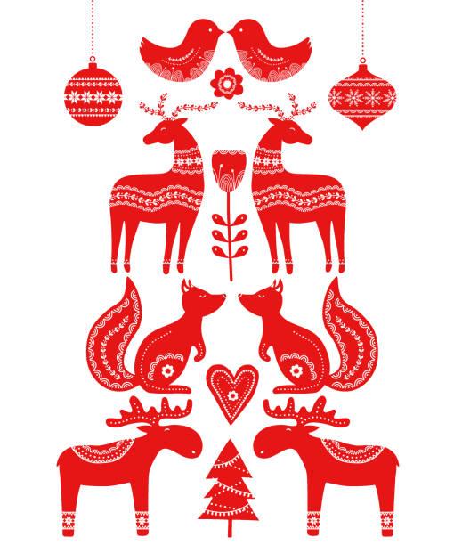 bildbanksillustrationer, clip art samt tecknat material och ikoner med christmas skandinaviska element - älg sverige