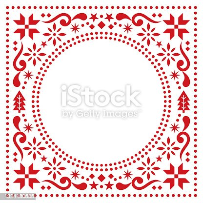 istock Christmas Scandinavian folk art vector greeting card border or frame pattern, red greeting card with Christmas trees, snowflakes, flowers andstars 1324180585