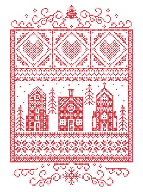 skandinavische weihnachten, nordischen stil winter naht, muster einschließlich herz, schneeflocke, winter wonderland dorf, lebkuchenhaus, kirche, weihnachtsbaum, schnee in rot, weiß in rechteck frame - gehäkelte lebensmittel stock-grafiken, -clipart, -cartoons und -symbole
