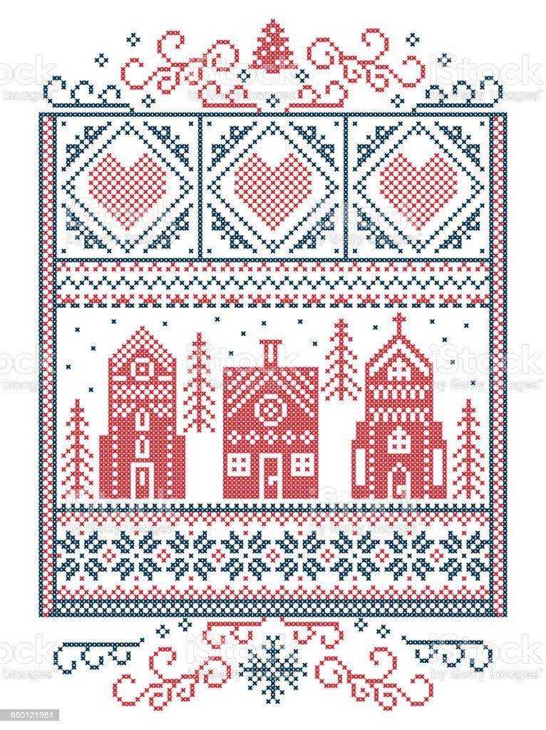 Skandinavische muster blau  Skandinavische Weihnachten Nordischen Stil Winter Naht Muster ...