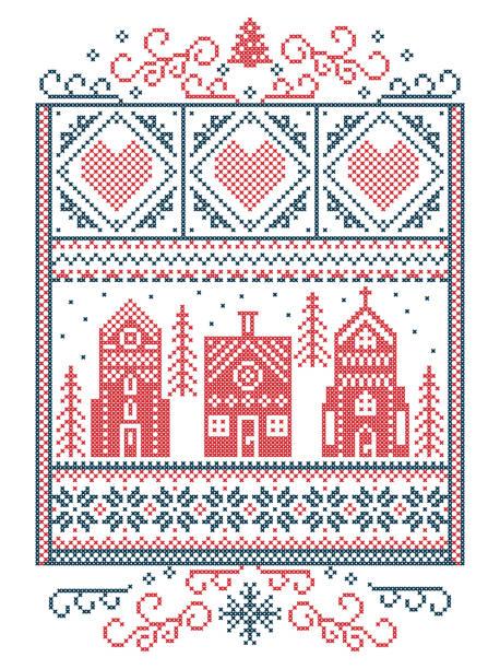 skandinavische weihnachten, nordischen stil winter naht, muster einschließlich herz, schneeflocke, winter wonderland dorf, lebkuchenhaus, kirche, weihnachtsbaum, schnee in rot, blau im rechteck frame - gehäkelte lebensmittel stock-grafiken, -clipart, -cartoons und -symbole