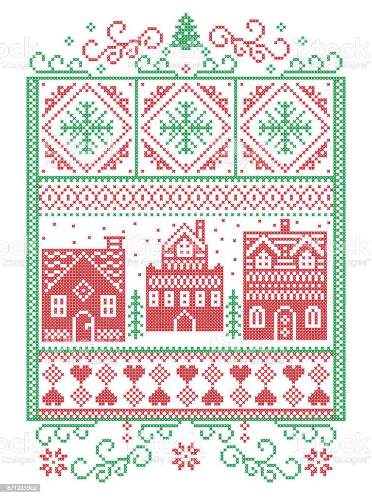 Ilustración de Navidad Escandinavo Estilo Nórdico Invierno Costura ...