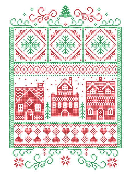 skandinavische weihnachten, nordischen stil winter naht, muster einschließlich herz, schneeflocke, winter wonderland dorf, lebkuchen häuser, kirche, weihnachtsbaum, schnee in rot, grün im rechteck frame - gehäkelte lebensmittel stock-grafiken, -clipart, -cartoons und -symbole
