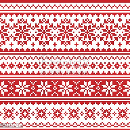 istock Christmas Scandinavian vector seamless pattern - red and white festive knnitting, cross-stitch design with snowflakes 1277757947