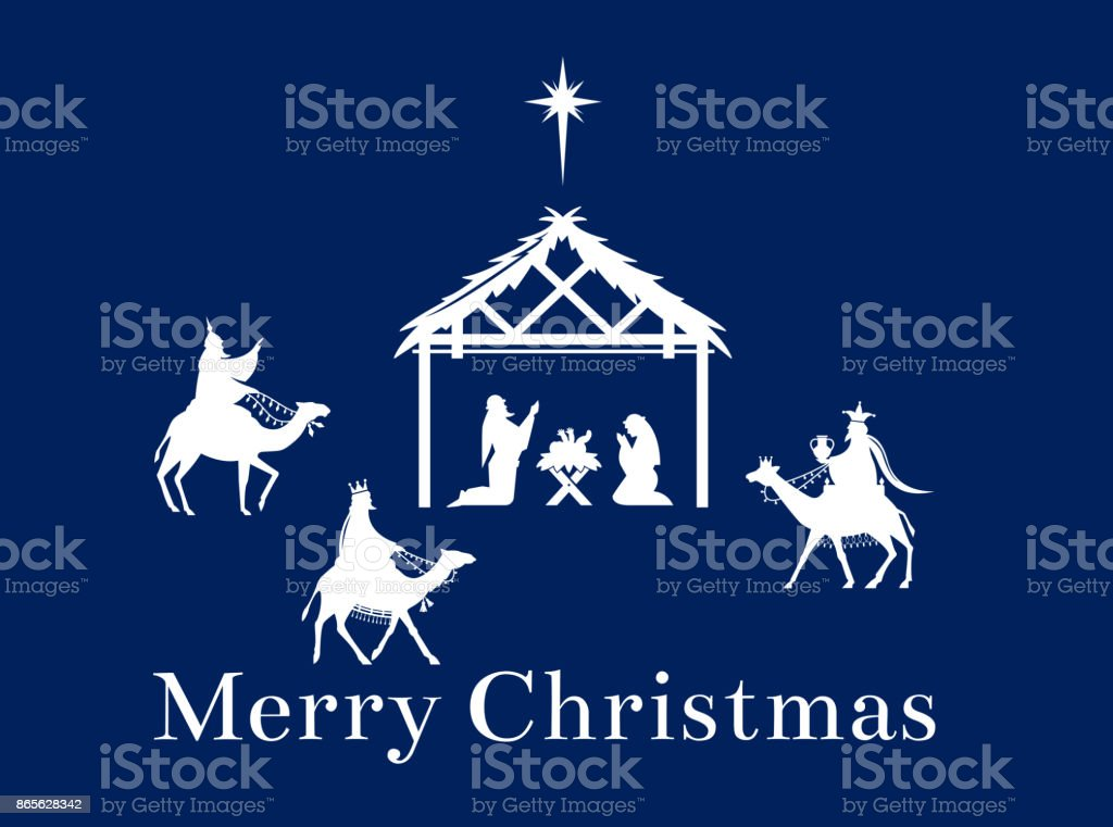 Christmas Scene Of Jesus In The Manger Stock Vector Art & More ...