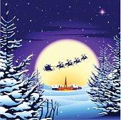 Christmas scene of snow & Santa flying past moon. Download files include: Illustrator CS2 • EPS • Xlarge hires jpeg  [url=/file_search.php?action=file&lightboxID=6217799][img]https://dl.dropboxusercontent.com/u/5418158/Christmas-lightbox-graphic-.jpg[/img][/url]