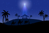 Christian Christmas scene with the three wise men and shining star, illustration.