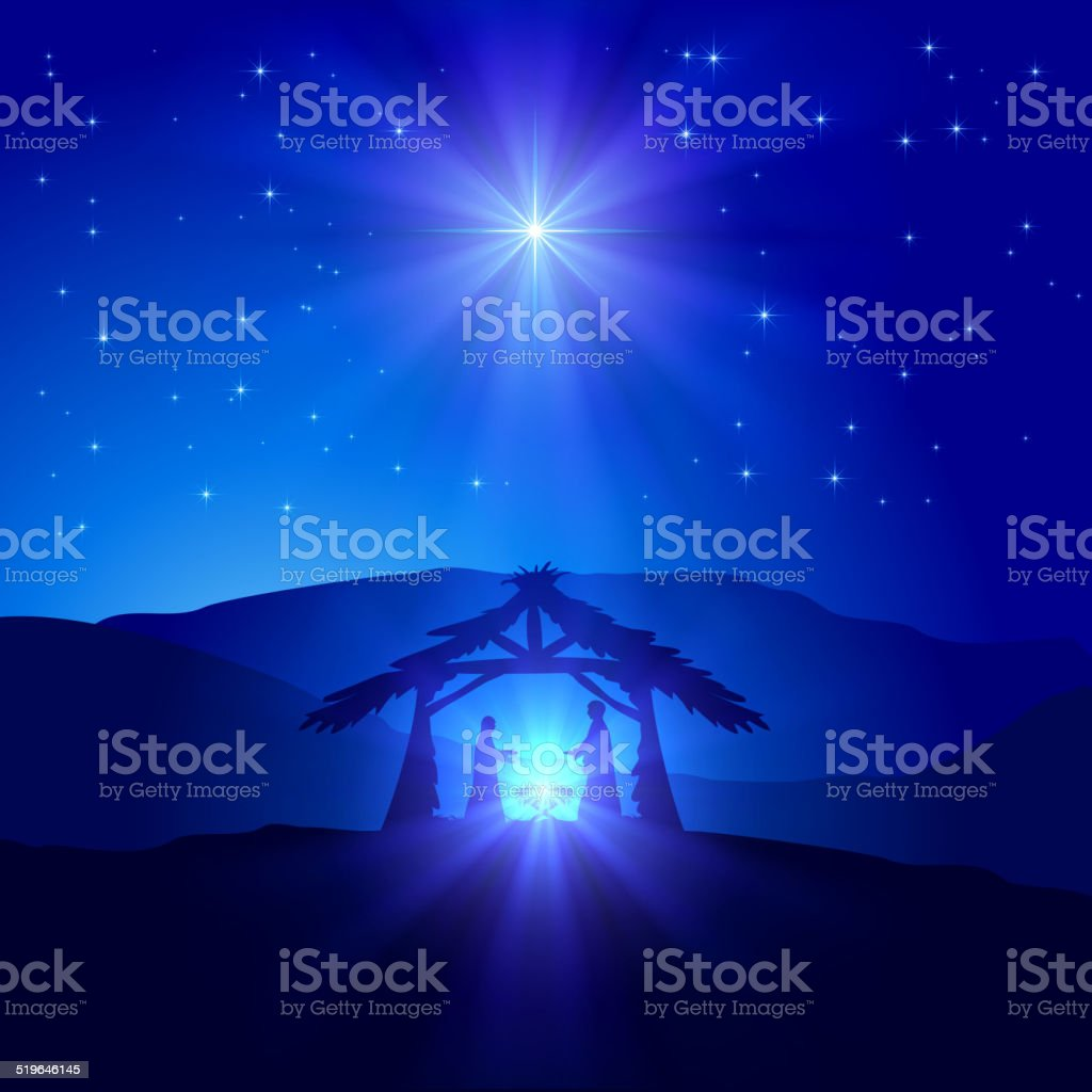 Christmas scene vector art illustration