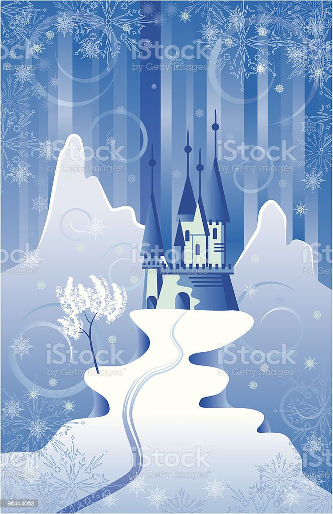 Christmas Scene with Castle vector art illustration