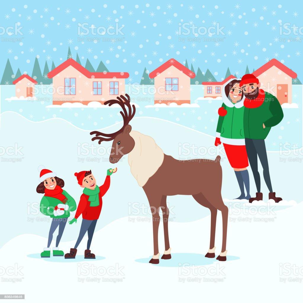 Weihnachtsszene Mit Kindern Familie Winterurlaub Stock Vektor Art ...