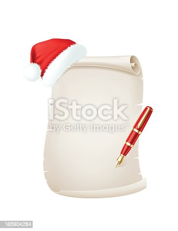 istock Christmas Scroll with Santa Hat and Pen 165904284