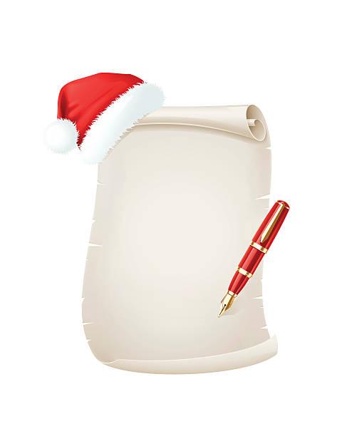 weiter weihnachten mit santa hut und stift - pelzmäntel stock-grafiken, -clipart, -cartoons und -symbole