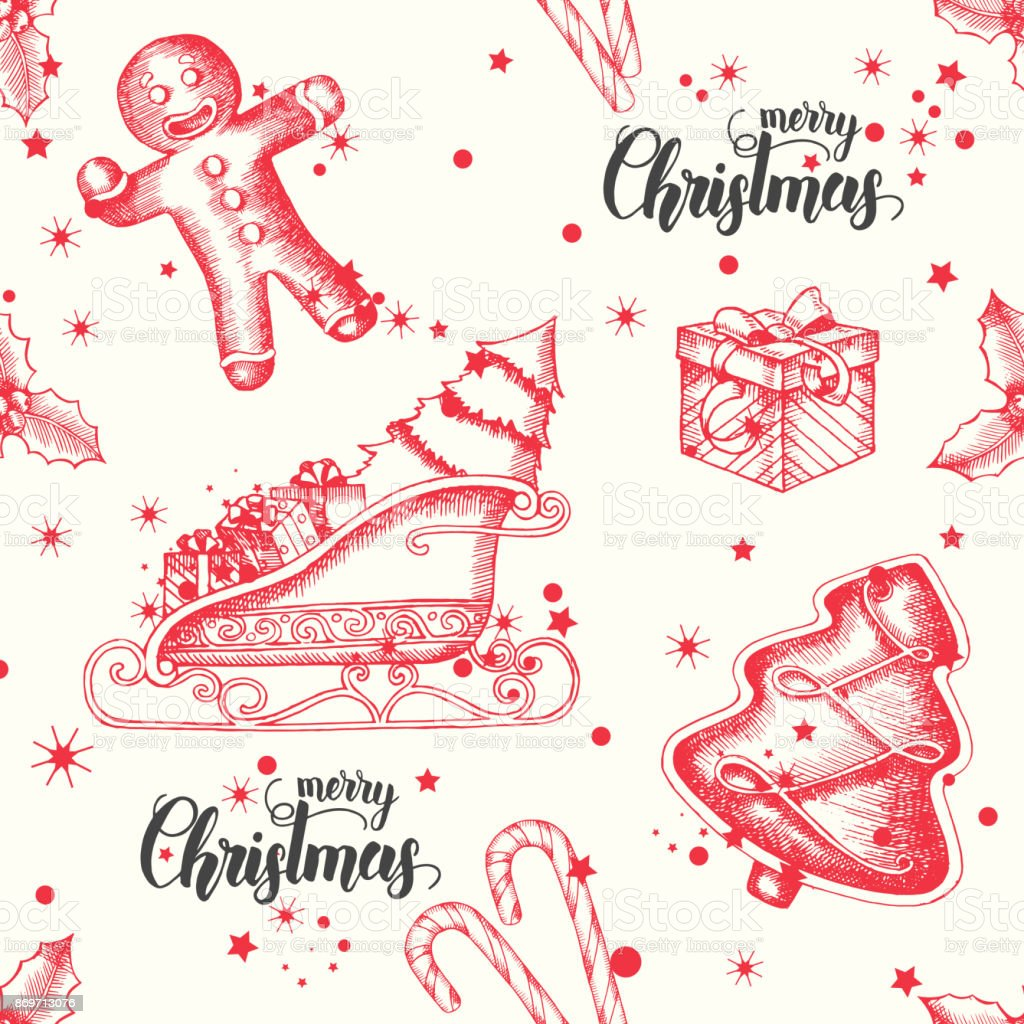 Christmas Seamless Background With Hand Drawn Gingerbread Candy ...