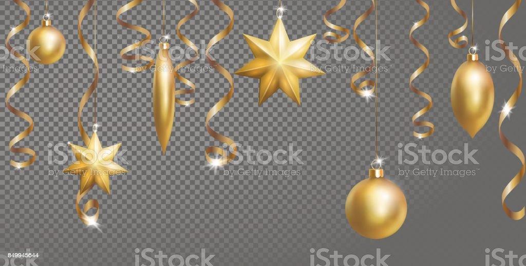 christmas seamless border banner template ball fir toys star golden silver sparkle serpentine streamer